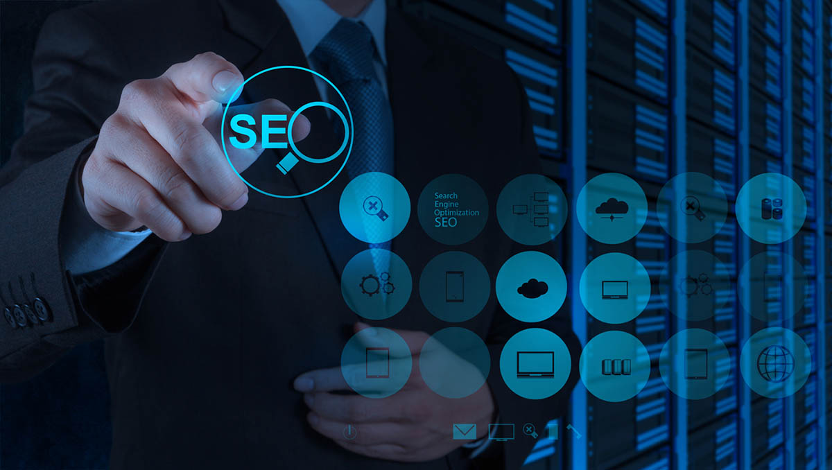 Businessman hand showing SEO